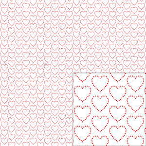 red on white heart dot pattern