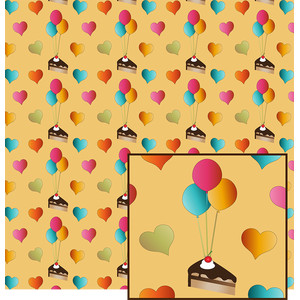 cake and balloons pattern