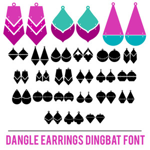 dangle earrings dingbat font