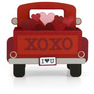 box card valentine red truck back end
