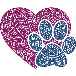 paw print love mandala zentangle