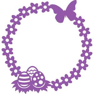 easter eggs flowers and butterfly circle frame