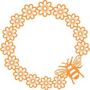 bee and flowers circle frame