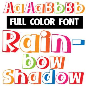 rainbow shadow color font