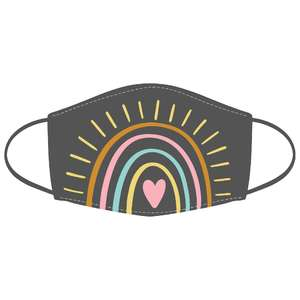 rainbow sun heart stitched mask