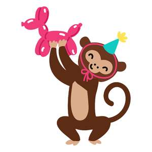 birthday monkey with animal balloon