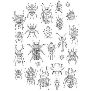 bugs and beetles coloring stickers