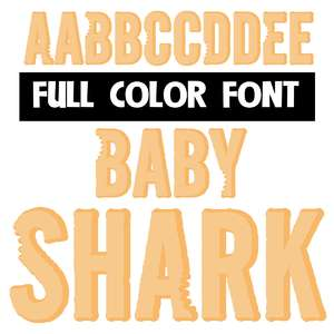 baby shark color font