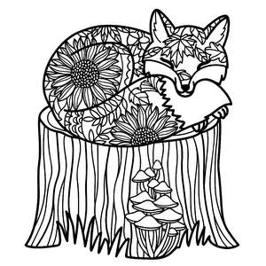 sleeping fox autumn leaves mandala
