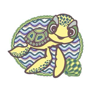 3d mandala baby sea turtle