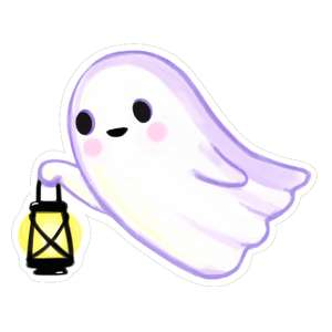 kawaii ghost carrying lantern
