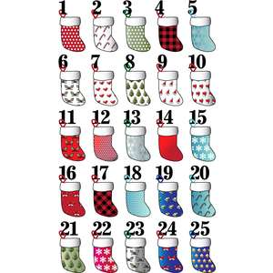 christmas advent stocking stickers