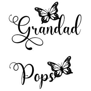 grandad and pops butterfly words