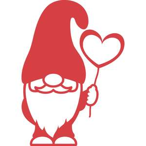 gnome and heart balloon