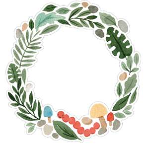 leaves and mushroom wreath