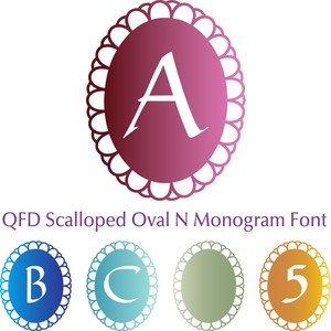 qfd scalloped oval monogram font