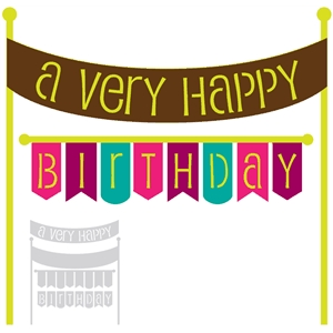 'a very happy birthday' banner