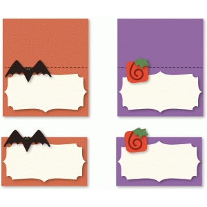 pumpkin and bat placecards