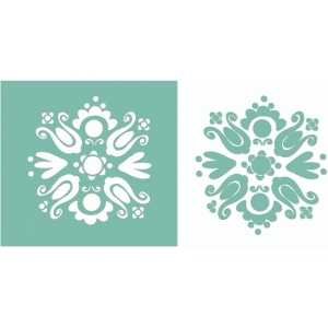 vintage modern floral stencil or decal
