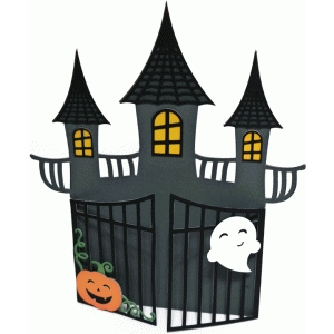 card halloween haunted house