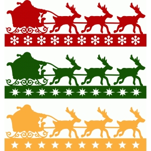 santa claus sleigh borders set