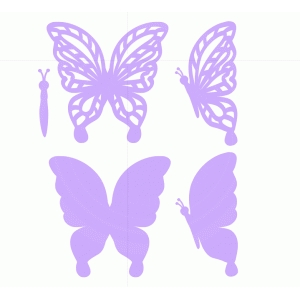 purple butterflies set