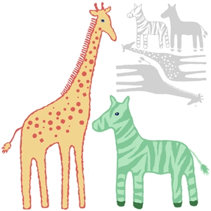 circus giraffe and zebra