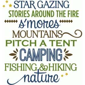 camping mountains word list