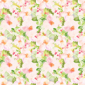 peach and green watercolor flower pattern