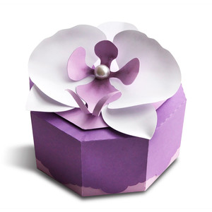 box with 3d orchid flower