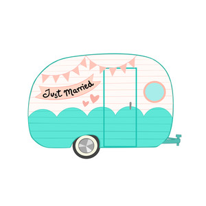 just married retro camper van