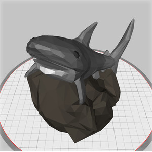 low-poly geometric shark