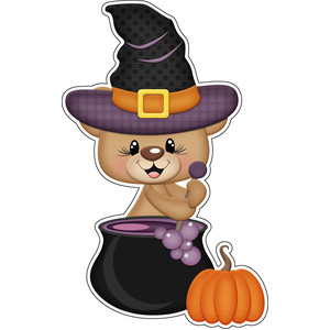 halloween bear witch with cauldron sticker/ die cut