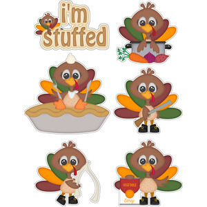 thanksgiving i'm stuffed turkeys stickers die cut set