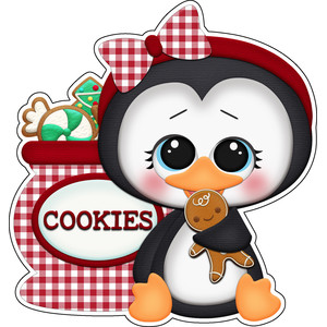 baking for santa penguin with cookies sticker / die cut
