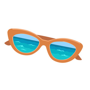 sunglasses with ocean reflection