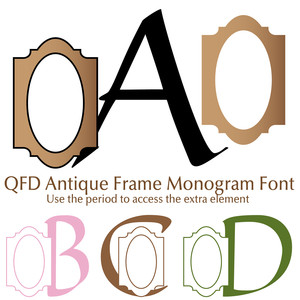 qfd antique frame monogram font