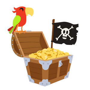 pirate treasure with parrot and flag
