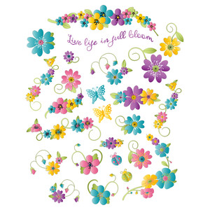 colorful flowers planner stickers