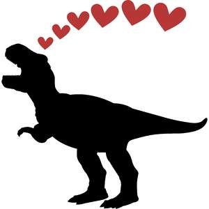 t-rex dinosaur and hearts