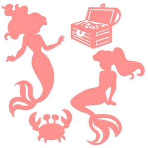mermaid shadow puppet set