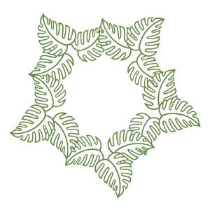 tropical leaves monogram frame