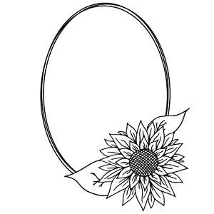 sunflower oval sketch frame