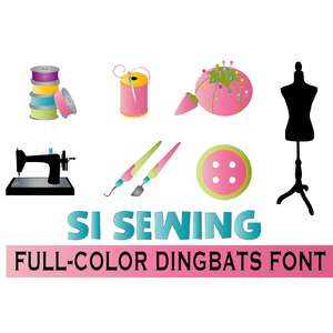 si sewing full-color dingbats font