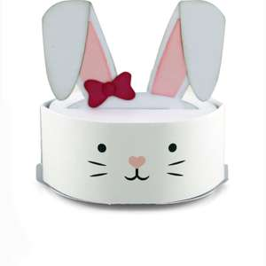 round pop up card bunny face