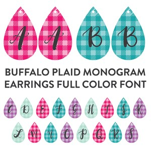 buffalo plaid earrings monogram full color font