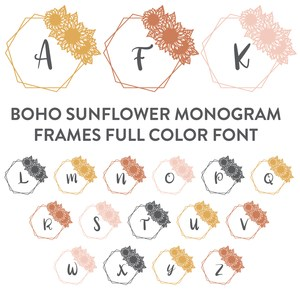 boho sunflower monogram frames