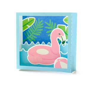 pool flamingo box shadowbox card
