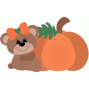 autumn bear sitting with pumpkin