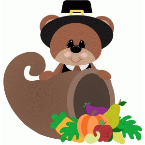 pilgrim bear with cornucopia thanksgiving